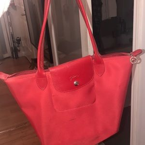 Long champ red bag